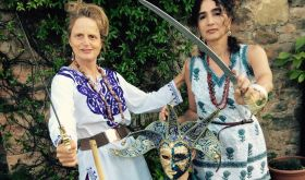Katia Nussbaum and her friend Yasmin and son Leeam in fancy dress