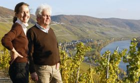 Dr Katharina and Dr Manfred Prum of J J Prum overlooking the Mosel