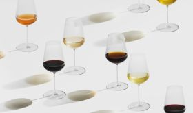 Jancis Robinson x Richard Brendon glasses with different wines