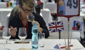 Louise Hurren judging low alcohol wine in Brno