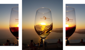 Santo wine triptych, sunset on Santorini