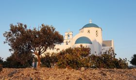 Santorini church with vines