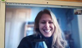 Marta Rinaldi of Barolo on Zoom talking to Walter Speller about the 2017 vintage