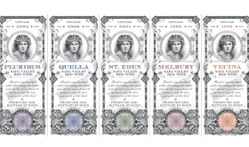Labels of five Bond wines - Pluribus, Quella, St Eden, Melbury, Vecina