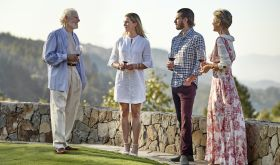 Harlan family on lawn in Napa Valley