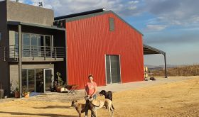 Rebuilt Lismore winery with Sam O'Keefe and dogs